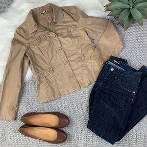 LOFT khaki military utility fitted jacket size 10
